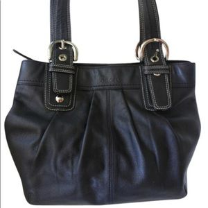 Coach Soho Smooth Pleated Carryall Black Leather